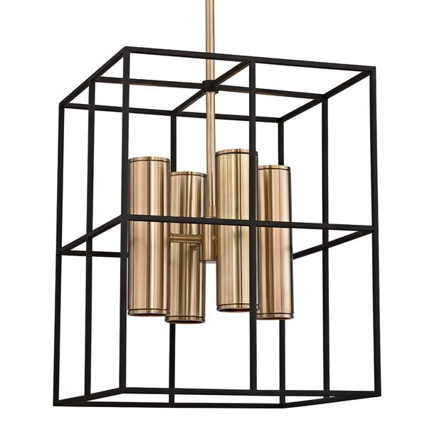 Veronica 8 - Light Shaded Rectangle / Square Chandelier with Wood Accents by Mercer41 Mercer41