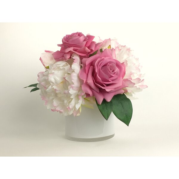 Artificial Silk Mixed Floral Arrangement in Decorative Vase by House of Hampton