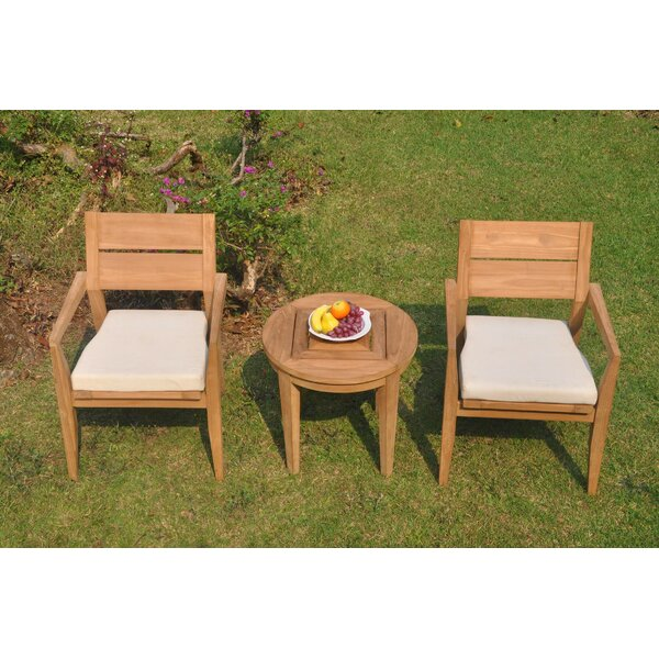 Heyman 3 Piece Teak Bistro Set by Rosecliff Heights