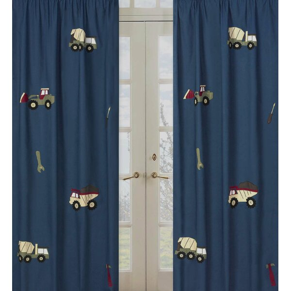 Construction Zone Graphic Print & Text Semi-Sheer Rod Pocket Curtain Panels (Set of 2) by Sweet Jojo Designs