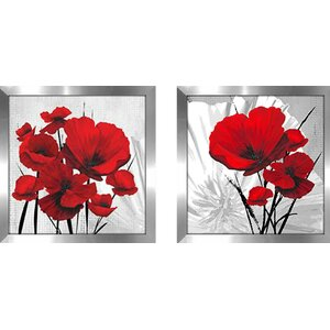 Big Red Poppies' 2 Piece Framed Graphic Art Print Set Under Glass by Winston Porter