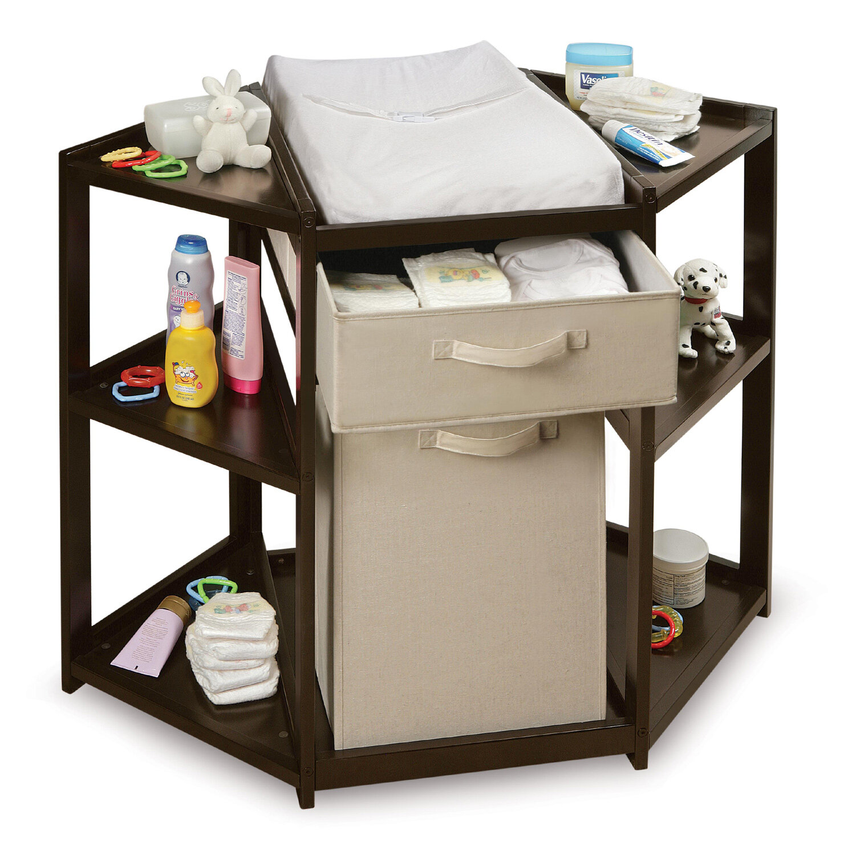 Badger Basket Diaper Corner Baby Changing Table With Hamper And Basket U0026  Reviews | Wayfair