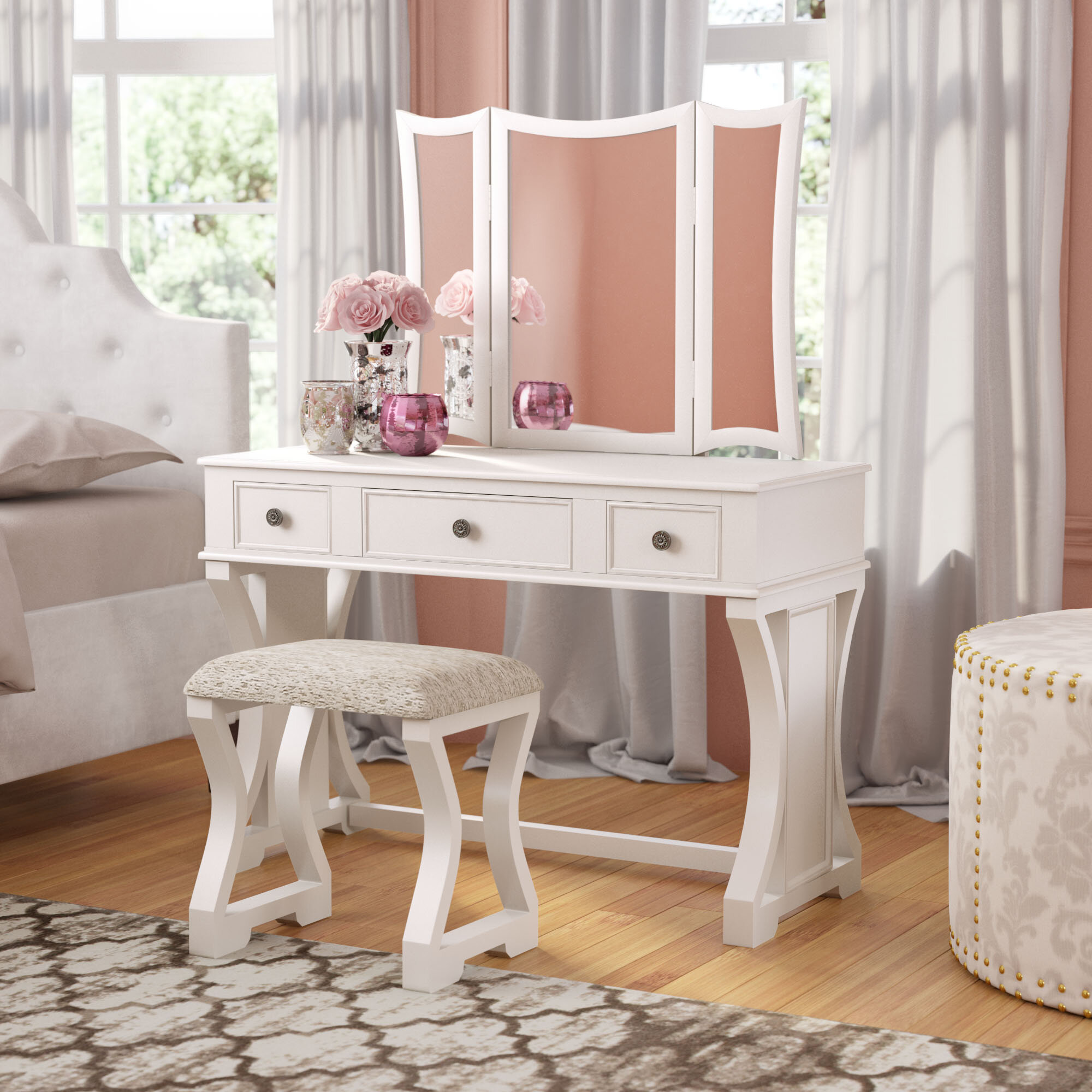girls mdf foxhunter table itm mirror chair bedroom white makeup set dressing kids vanity