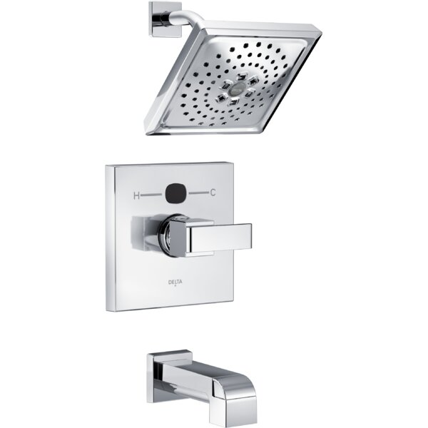 Angular Modern Tub and Shower Faucet Trim with H2okinetic Technology by Delta