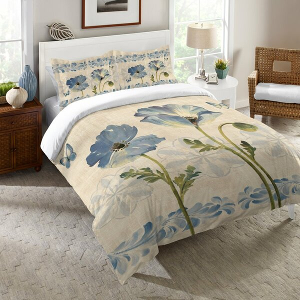 Davet Indigo Watercolor Poppies Comforter by Red Barrel Studio
