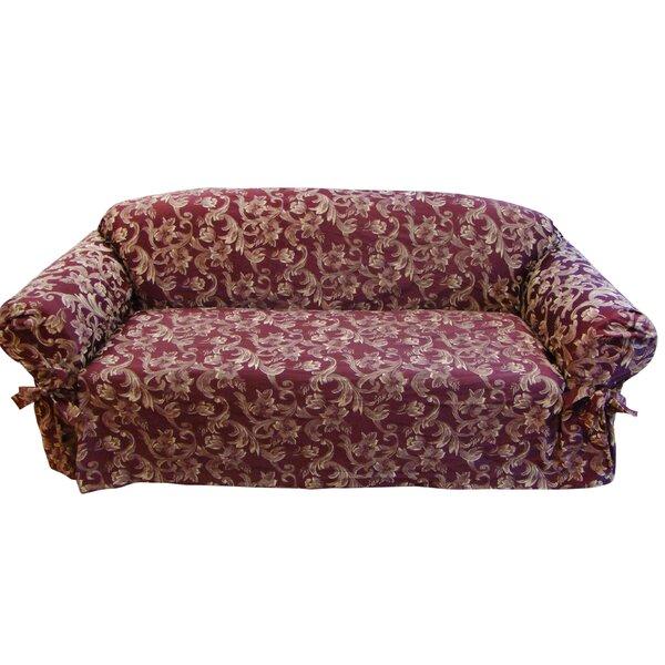 Jacquard Scroll Box Cushion Loveseat Slipcover by Textiles Plus Inc.