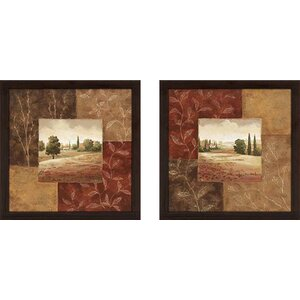 Poppy Fields' 2 Piece Framed Acrylic Painting Print Set Under Glass by Fleur De Lis Living