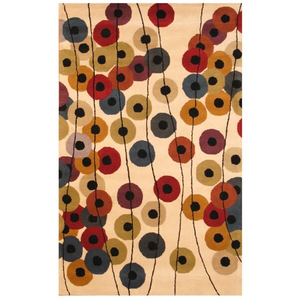 Hand-Tufted Beige/Black Area Rug by Herat Oriental
