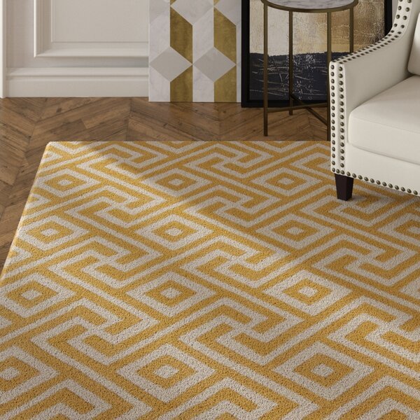 Electra Hand Tufted Rectangle Contemporary Yellow/Cream Area Rug by Mercer41