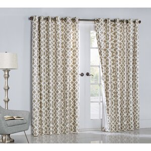 Nettie Geometric Room Darkening Thermal Grommet Single Curtain Panel