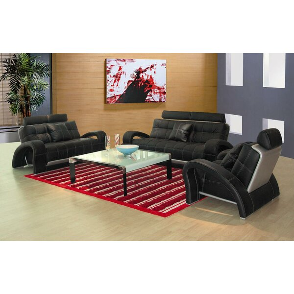 Arthur Leather 3 Piece Living Room Set by Hokku Designs