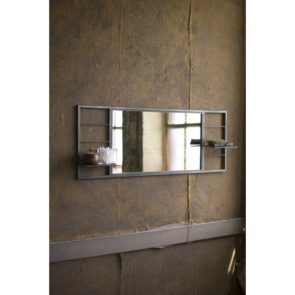 Grillo Rectangle Metal Side Shelves Accent Mirror by Williston Forge