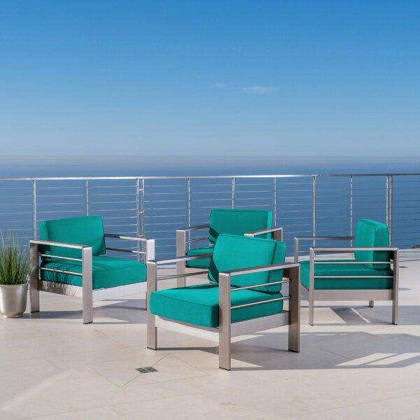 Elwyn Patio Chair with Sunbrella Cushions (Set of 4) by Orren Ellis Orren Ellis