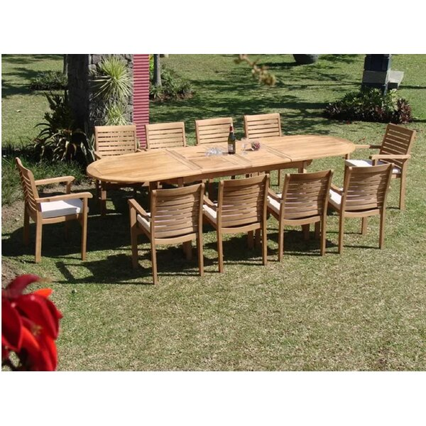 Hollier Luxurious 11 Piece Teak Dining Set by Rosecliff Heights