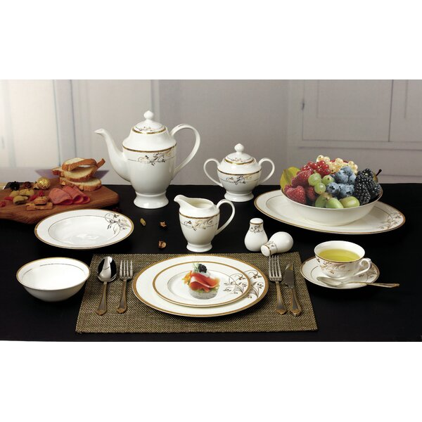 Bone China 57 Piece Dinnerware Set Service For 8 By Lorren Home Trends.