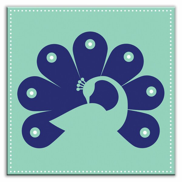 Folksy Love 4-1/4 x 4-1/4 Glossy  Decorative Tile in Primped Peacock Teal-Navy by Oscar & Izzy