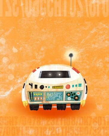 Rumbling Robots - Scoot Canvas Art by Oopsy Daisy
