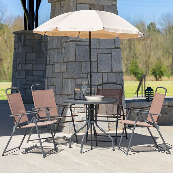Luling 5 Piece Dining Set with Umbrella by Ebern Designs