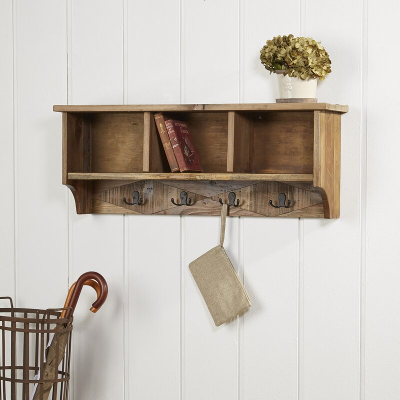 Laurel Foundry Modern Farmhouse Rustic Natural Wood Wall Mounted ...