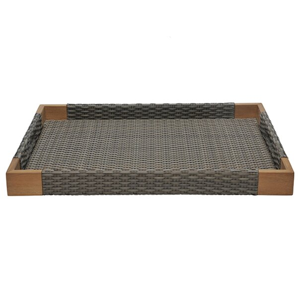 Quinta Teak and Woven Accent Tray by JANUS et Cie