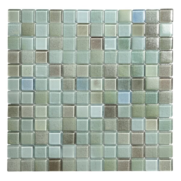Hi-Fi 1 x 1 Glass Mosaic Tile in Green/Gray by Kellani