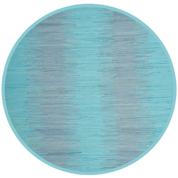 Cayman Hand-Woven Turquoise Cotton Area Rug by Highland Dunes