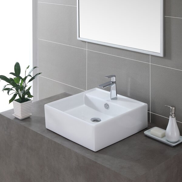Ceramic Ceramic Square Vessel Bathroom Sink with Overflow by Kraus