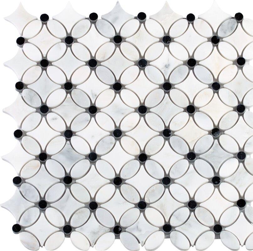 MSI Florita Pattern Polished Marble Mosaic Tile in White & Reviews ...