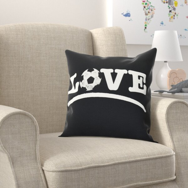 Bauer Love Soccer Word Outdoor Throw Pillow by Zoomie Kids