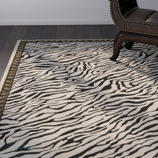 Skandar Hand-Hooked Wool Beige/Black Indoor Area Rug by Bloomsbury Market
