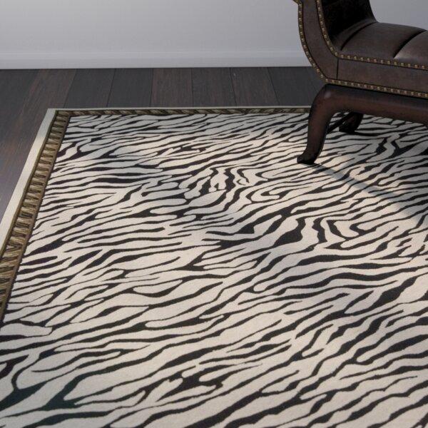 Skandar Hand-Hooked Wool Beige/Black Indoor Area Rug by Bloomsbury Market