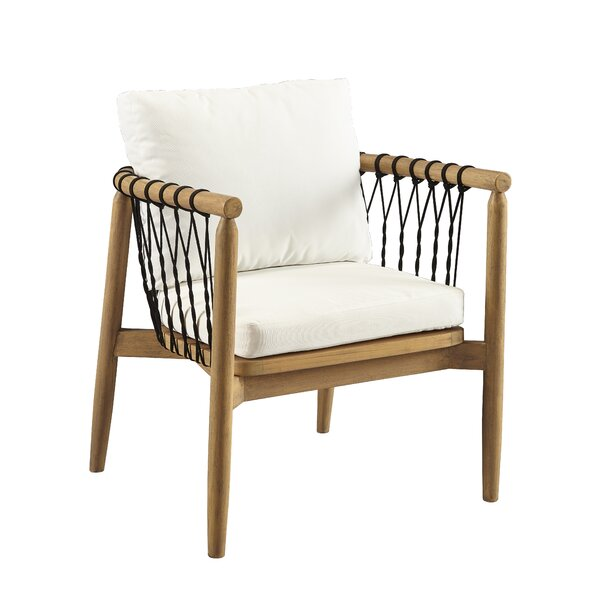 Bakerstown Teak Patio Chair with Cushions by Bungalow Rose