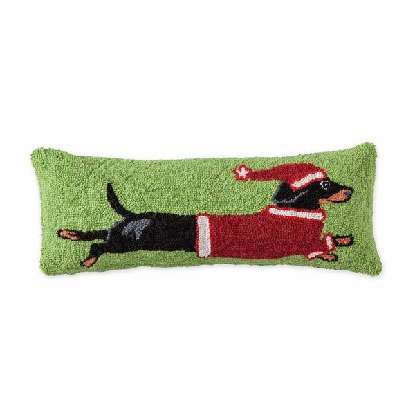 Leaping Dachshund Hooked Holiday Wool Throw Pillow by Plow & Hearth