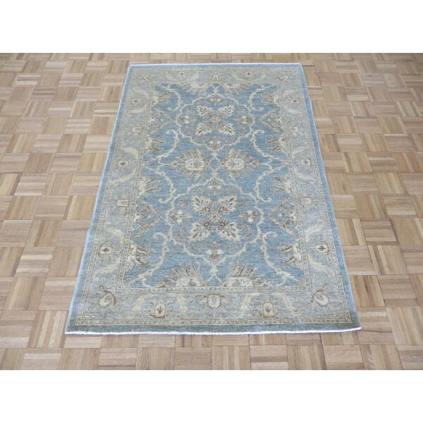 One-of-a-Kind Railsback Oushak Hand-Knotted Rayon from Bamboo Blue Area Rug by Astoria Grand