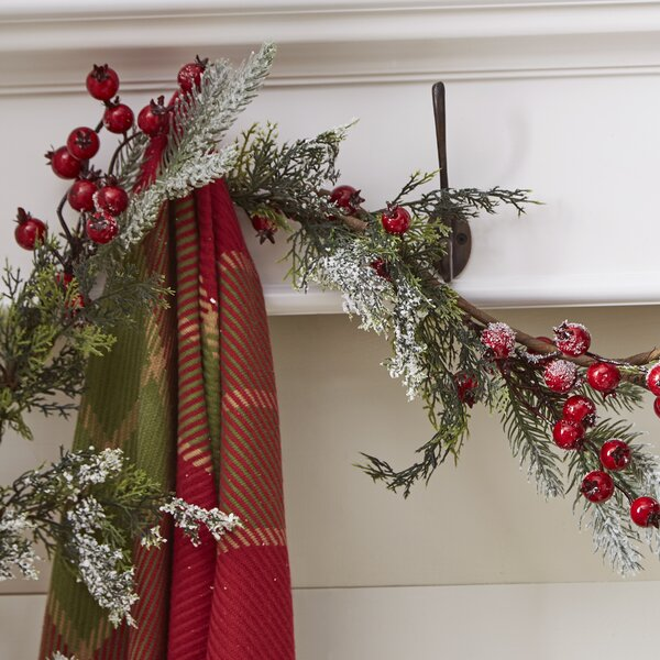Snowy Pine Garland with Berry Garland by Andover Mills