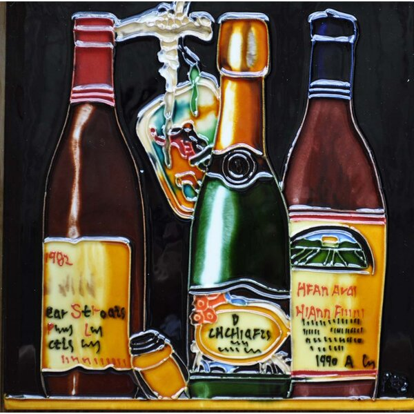 3 Wine Bottles and Opener Tile Wall Decor by Continental Art Center