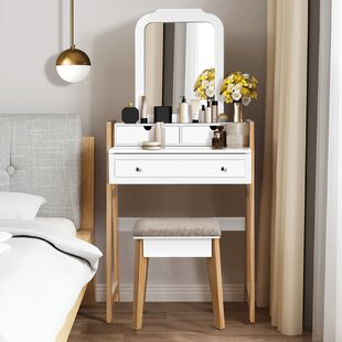 Crebilly Makeup Vanity Set with Stool and Mirror
