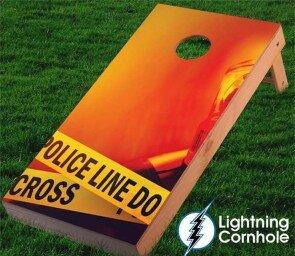 Police Line Blaze Cornhole Board by Lightning Cornhole