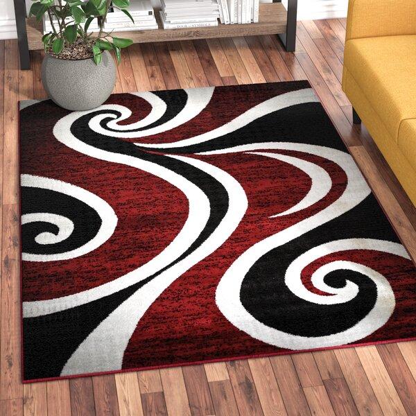 Ebern Designs Collingwood Power Loom Red Black White Rug Reviews Wayfair