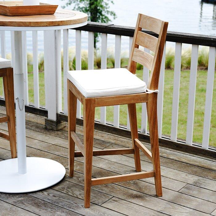 Pleasant Catalina Outdoor 30 Teak Patio Bar Stool With Cushion Bralicious Painted Fabric Chair Ideas Braliciousco