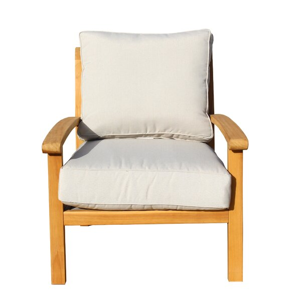 Chancy Courtyard Teak Patio Chair with Cushions by Rosecliff Heights Rosecliff Heights