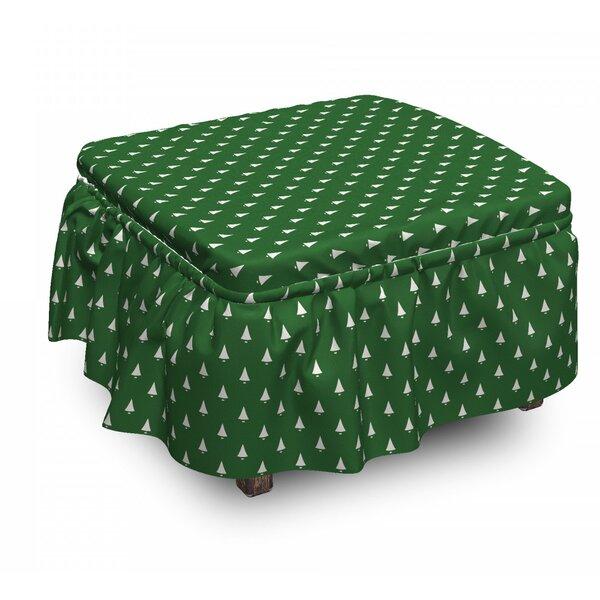 Christmas Little Bells 2 Piece Box Cushion Ottoman Slipcover Set By East Urban Home