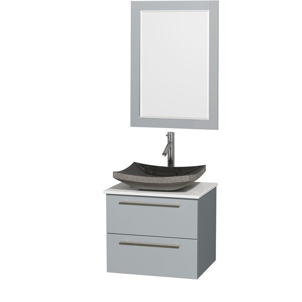 Amare 24 Single Dove Gray Bathroom Vanity Set with Mirror by Wyndham Collection