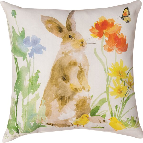 Collins Garden Bunny Flower Butterfly Throw Pillow by Manual Woodworkers & Weavers