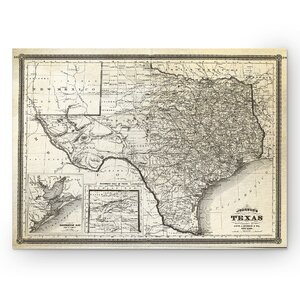 'Vintage Map Texas I' Graphic Art Print on Wrapped Canvas by Wexford Home