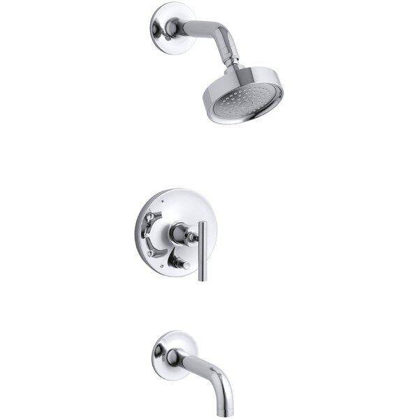 Purist Rite-Temp Pressure-Balancing Bath and Shower Faucet Trim with Push-Button Diverter, 7-3/4 Spout and Lever Handle, Valve Not Included by Kohler
