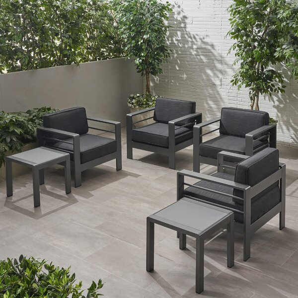 Eaker Outdoor 4 Piece Multiple Chairs Seating Group with Cushions by Orren Ellis