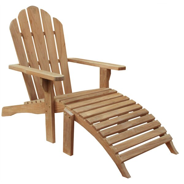 Teak Adirondack Chair with Ottoman by Chic Teak