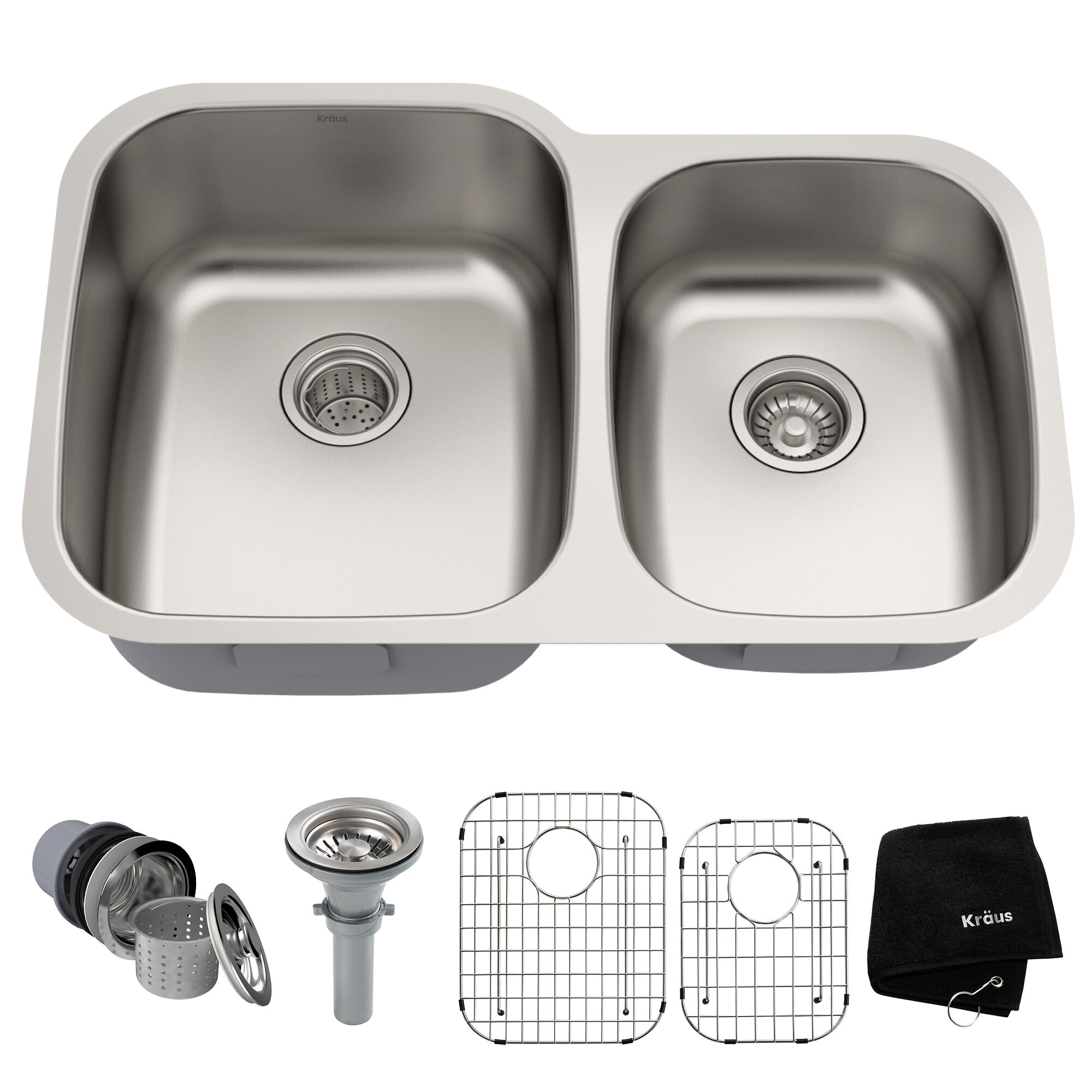 32 L X 21 W Double Basin Undermount Kitchen Sink With Drain Assembly Reviews Allmodern
