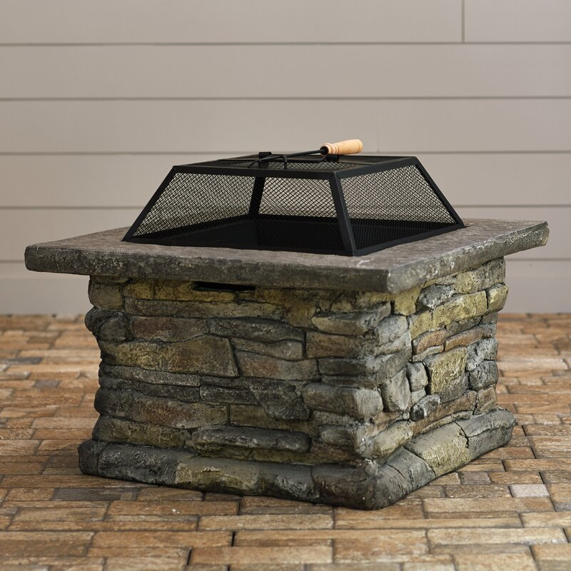 Captivating Colton Faux Stone Wood Burning Fire Pit Table